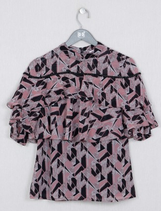 Onion pink printed casual top in georgette