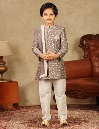Onion pink raw silk fabric boys sherwani for wedding