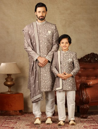 Onion pink raw silk fabric father and son concept sherwani for wedding