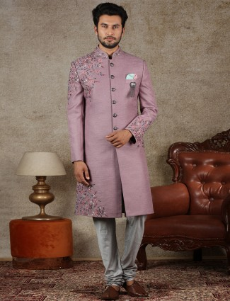 Onion pink raw silk fabric sherwani for groom
