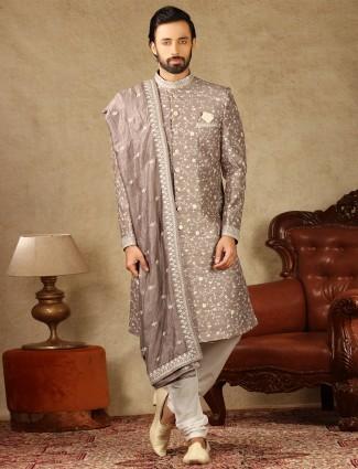 Onion pink raw silk fabric sherwani for wedding