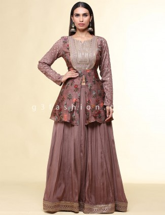 Onion pink raw silk lehenga style suit