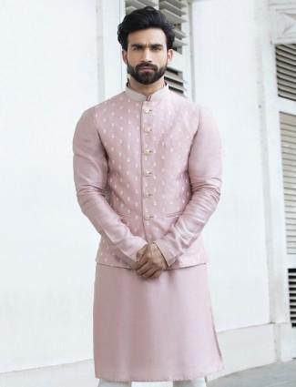 Onion pink raw silk mens waistcoat set