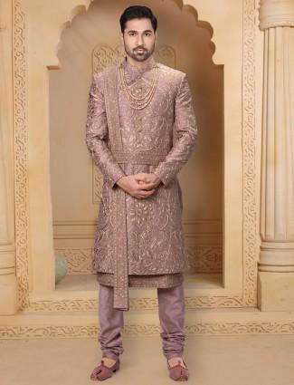 Onion pink raw silk wedding wear sherwani