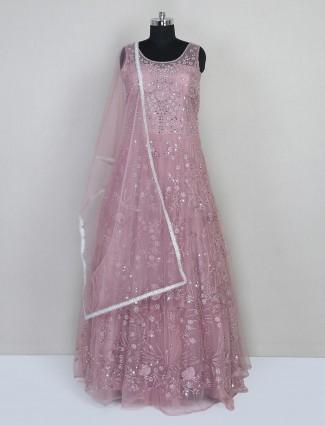 Onion pink reception wear gown for women