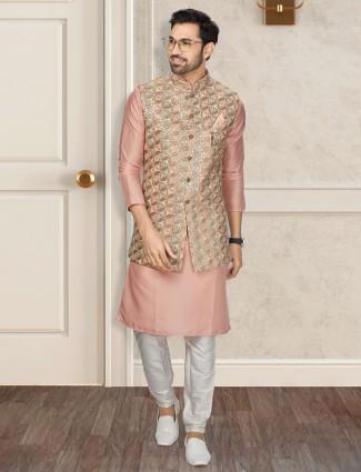Onion pink silk waistcoat set for men