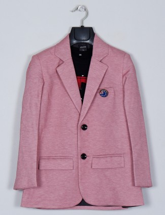 Onion pink solid style blazer for party style