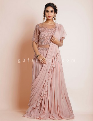 Onion pink wedding gown for women in georgette