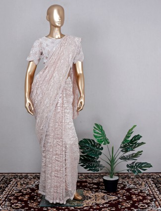 Onion pink wedding saree in net with ready made blouse