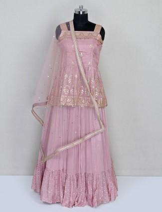 Onion pink wedding wear chiffon lehenga