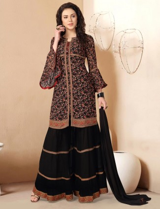 Opulent black georgette printed punjabi sharara suit