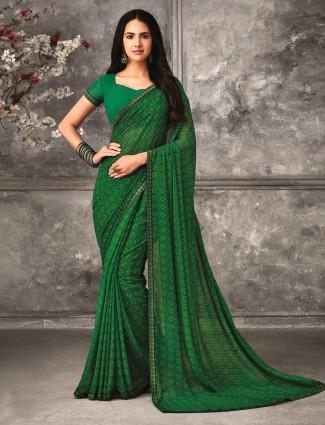 Opulent green georgette saree for festivals