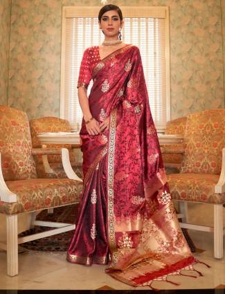 Opulent maroon wedding wear jacquard silk saree for women