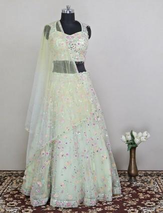 Opulent net pastel green elehenga choli for wedding function