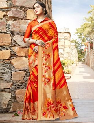 Opulent orange wedding wear banarasi silk saree for women