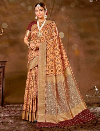 Opulent peach wedding wear banarasi silk saree for women