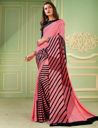Opulent printed crepe pink saree