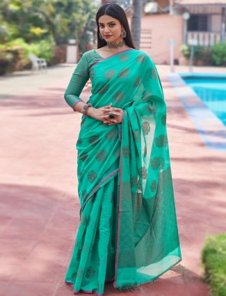 Opulent sea green festive wear handloom cotton saree for women