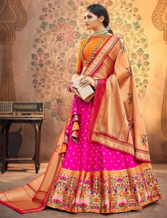 orange and magenta banarasi silk semi stitched lehenga choli