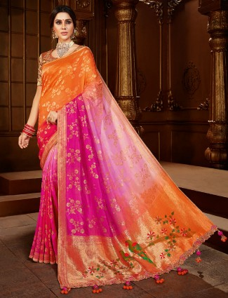 Orange and magenta dola silk saree for wedding function