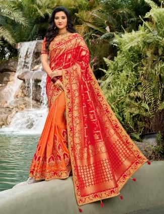Orange and red half n half cotton silk saree for wedding
