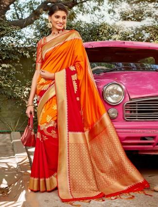 Orange and red half n half semi silk saree for wedding events