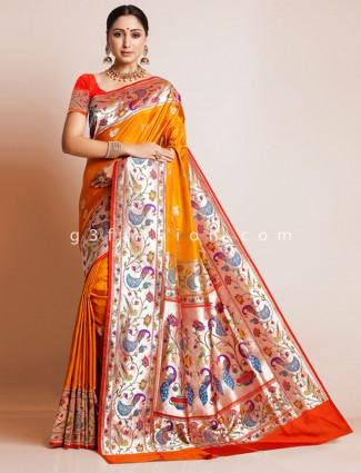 Orange banarasi paithani silk wedding wear sari