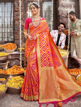 Orange banarasi silk wedding occasions saree