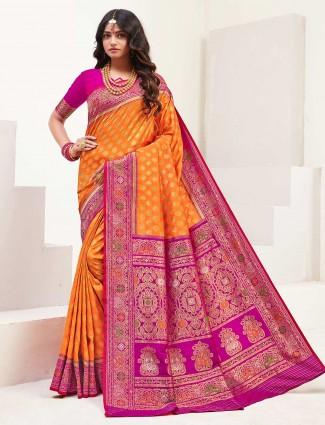 Orange banarasi silk wedding session saree