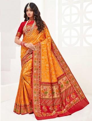 Orange banarasi silk wedding wear sari