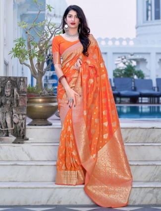 Orange color fabulous beautiful wedding ceremonies saree