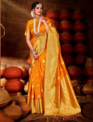 Orange colored wedding saree in banarasi silk