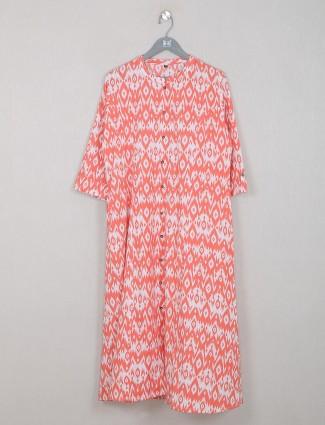 Orange cotton casual wear printed kurti for women