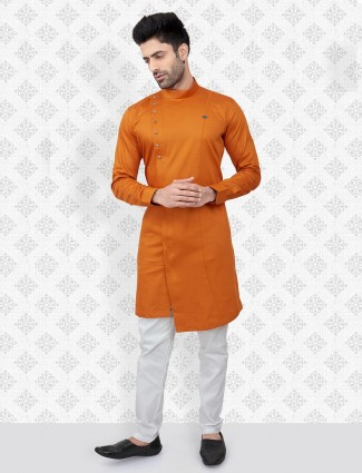 Orange cotton festive function kurta suit