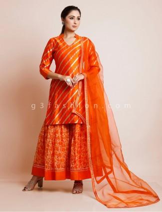 Orange cotton silk and georgette shrarara suit