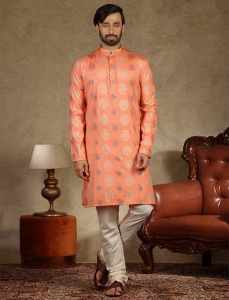 Orange cotton stand collar kurta suit