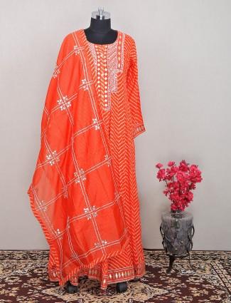 Orange floor-length anarkali suit in cotton silk with gota details