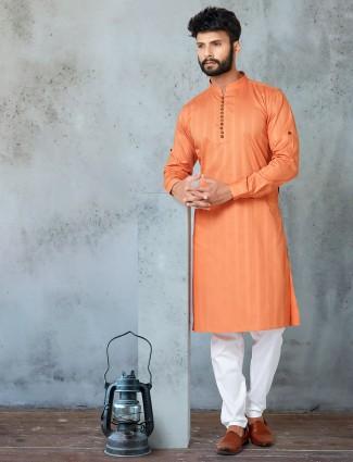 Orange full sleeves cotton stripe kurta suit for festive