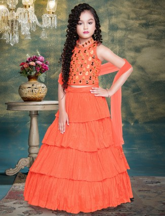 Orange hue wedding wear georegtte layered lehenga
