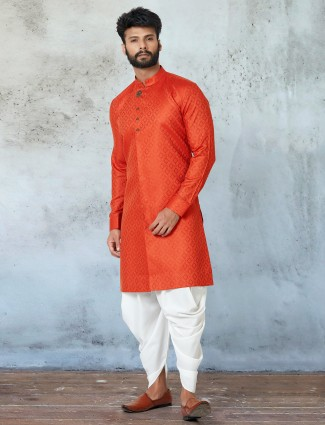 Orange kurta with dhoti in cotton for festive session