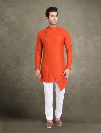Orange mens solid cotton kurta suit
