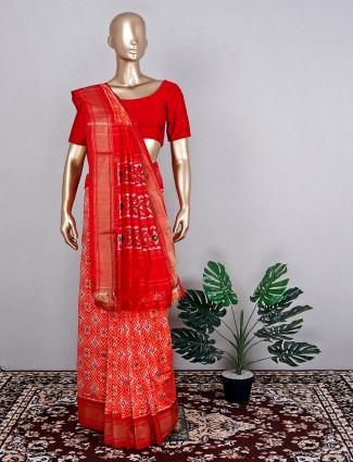 Orange patola silk saree for wedding