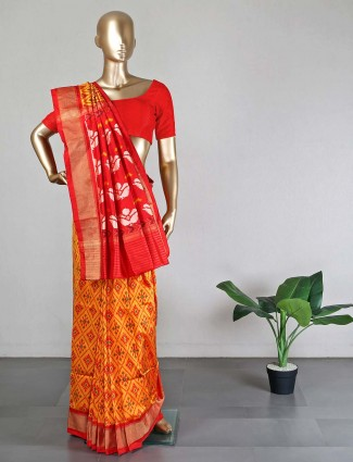 Orange patola silk saree for wedding days
