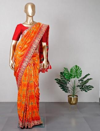 Orange patola silk wedding wear saree