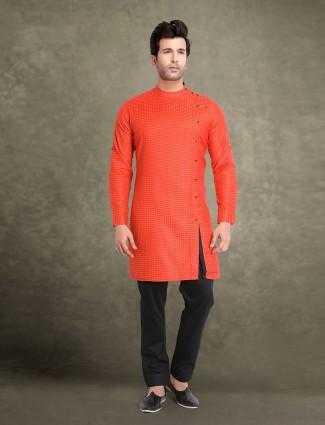 Orange printed cotton classic kurta suit