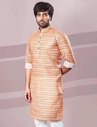 Orange printed cotton festive wear kurta