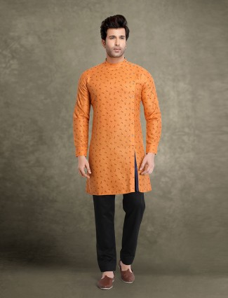 Orange printed design cotton kurta suit