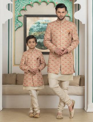 Orange printed silk father son matching indo western