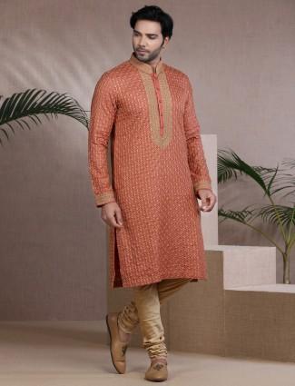 Orange pure cotton kurta pajama festive wear