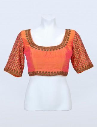 Orange raw silk blouse for women